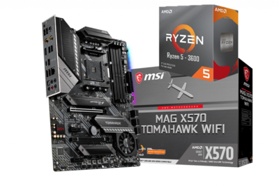 AMD RYZEN 5 3600 6-Core 3.6 GHz (4.2 GHz Max Boost) + MSI MAG X570 Tomahawk Wifi Motherboard Bundle