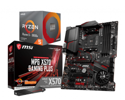 AMD RYZEN 5 3600X 6-Core 3.8 GHz (4.4 GHz Max Boost) + MSI MPG X570 Gaming Plus Motherboard Bundle