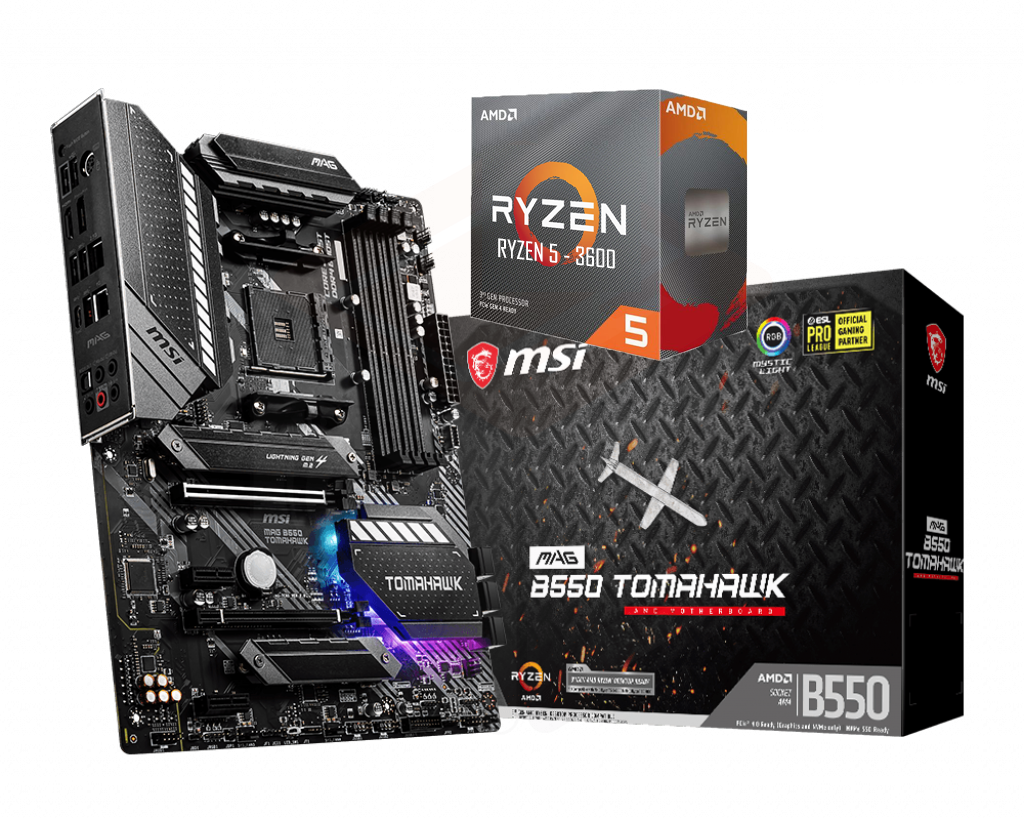 AMD RYZEN 5 3600 6-Core 3.6 GHz (4.2 GHz Max Boost) + MSI B550 TOMAHAWK Motherboard Bundle