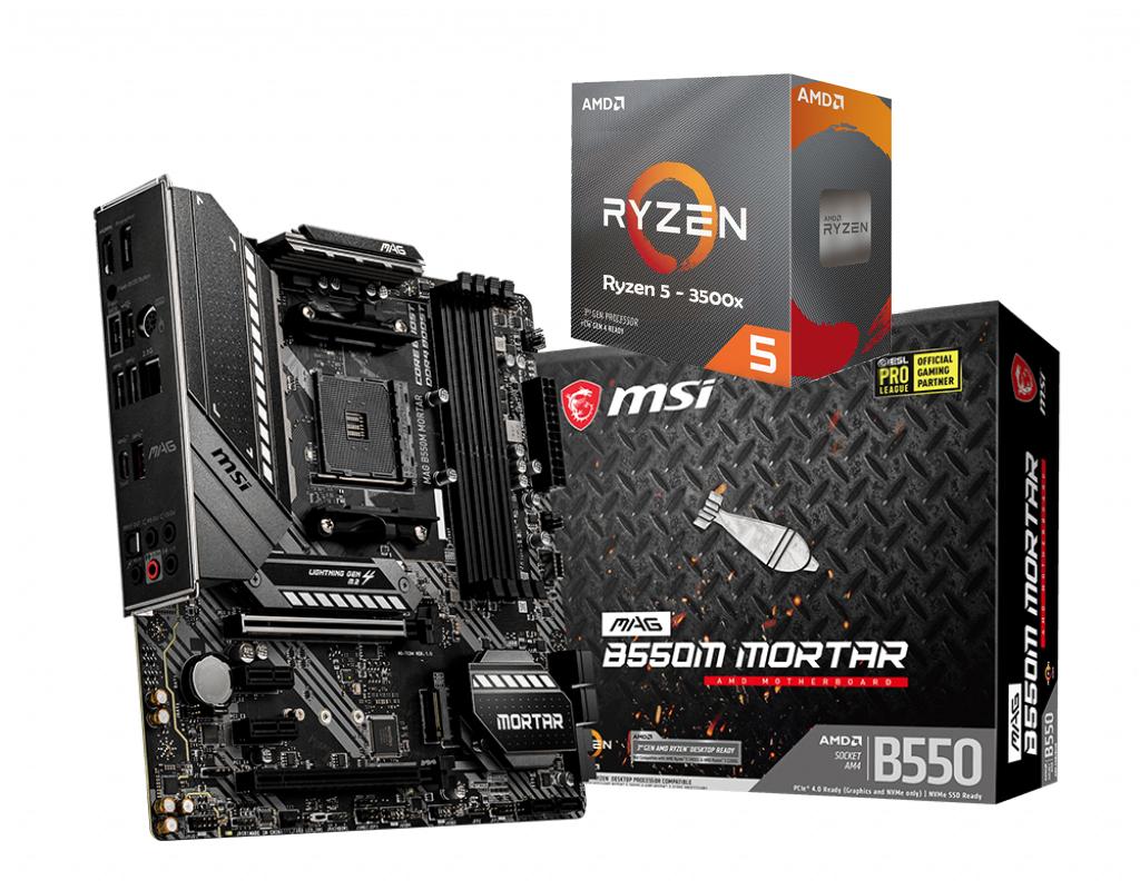 AMD RYZEN 5 3500X 6-Core 3.6 GHz (4.1 GHz Max Boost) + MSI MAG B550M M0RTAR Motherboard Bundle