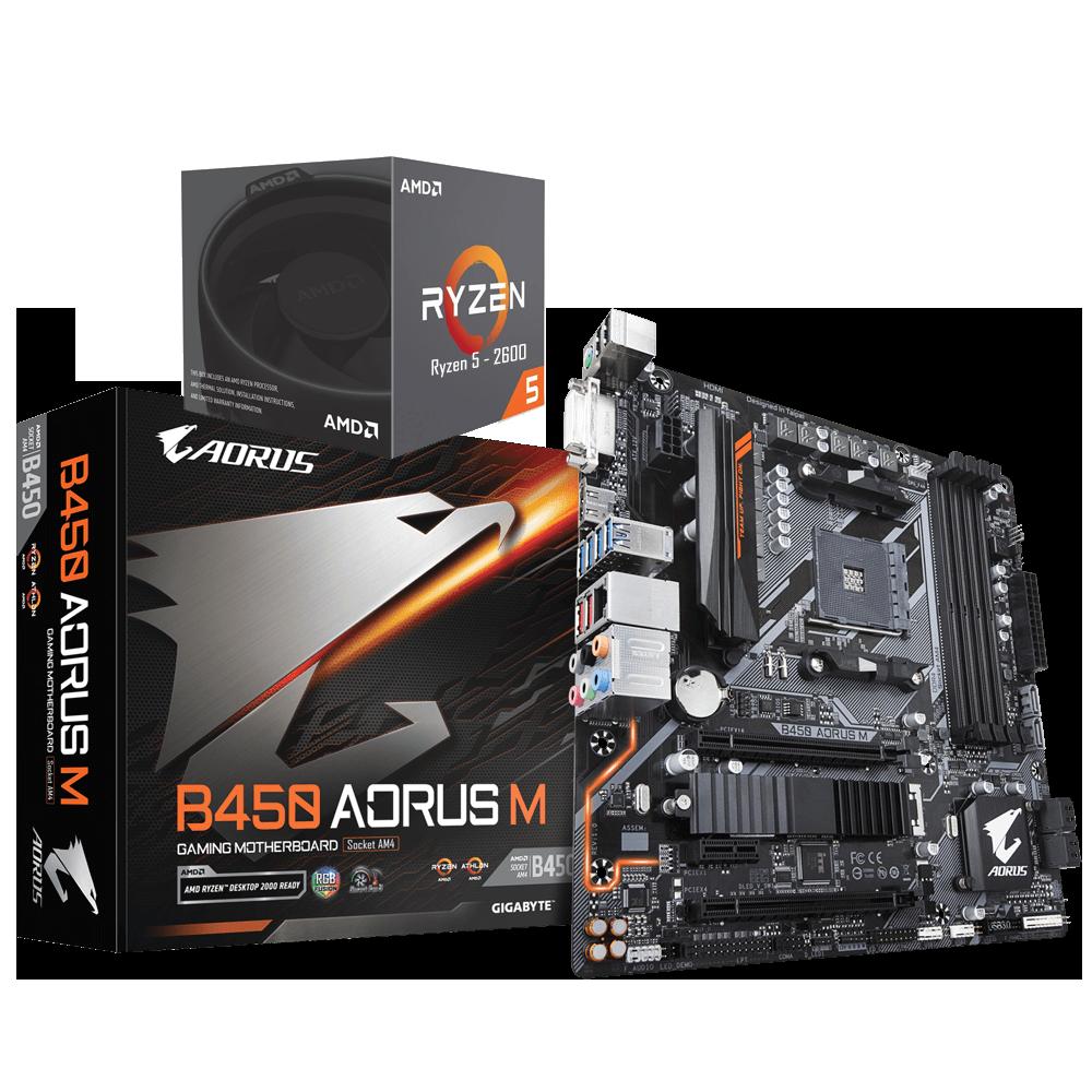 AMD RYZEN 5 2600 6-Core 3.4 GHz (3.9 GHz Max Boost) + AORUS B450M Motherboard Bundle