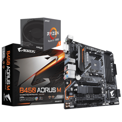 AMD RYZEN 5 2600 6-Core 3.4 GHz (3.9 GHz Max Boost) + AORUS B450M Motherboard Bundle