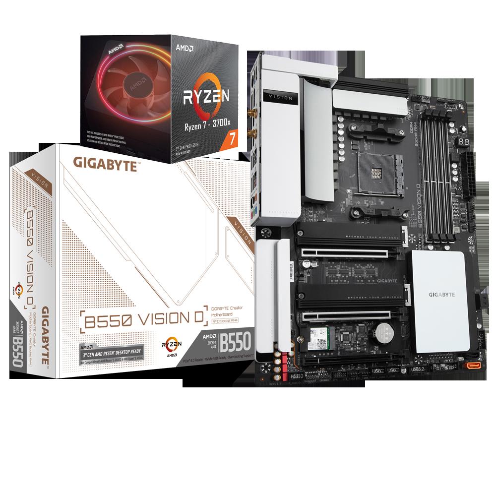 AMD RYZEN 7 3700X 8-Core 3.6 GHz (4.4 GHz Max Boost) + GIGABYTE B550 VISION D Motherboard Bundle