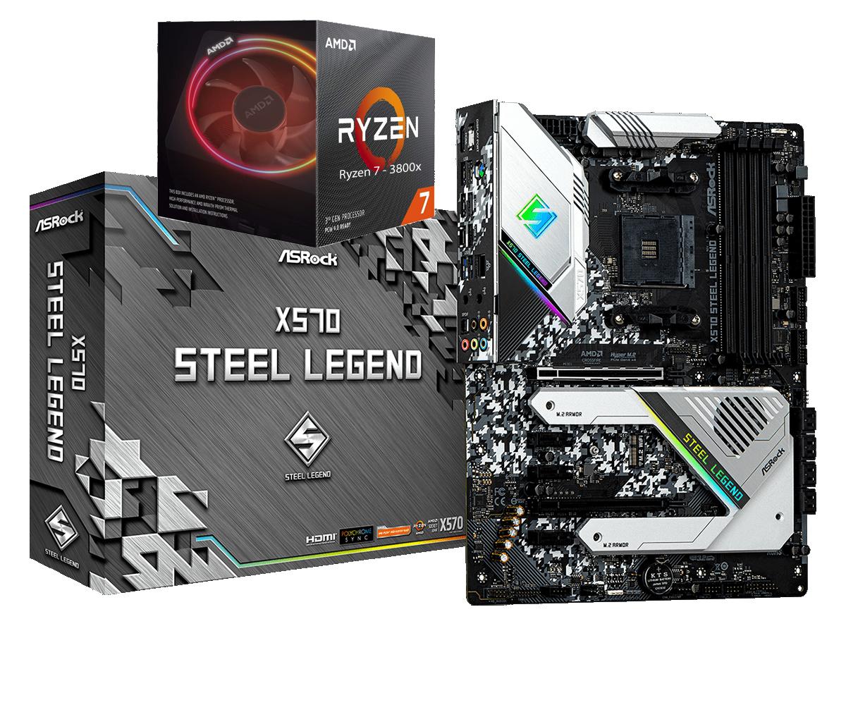 AMD RYZEN 7 3800X 8-Core 3.9 GHz (4.5 GHz Max Boost) + ASROCK X570 STEEL LEGEND Gaming Motherboard Bundle