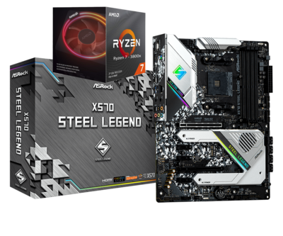 AMD RYZEN 7 3800X 8-Core 3.9 GHz (4.5 GHz Max Boost) + ASROCK X570 STEEL LEGEND Gaming Motherboard Bundle