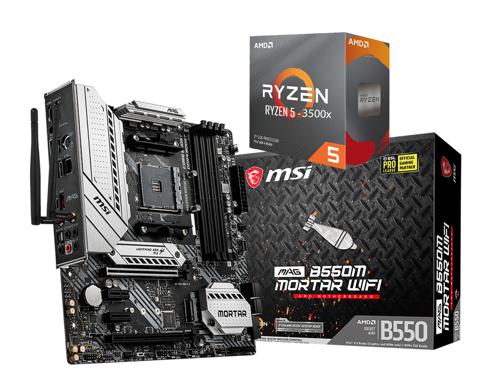 AMD RYZEN 5 3500X 6-Core 3.6 GHz (4.1 GHz Max Boost) + MSI B550M Mortar WIFI Motherboard Bundle