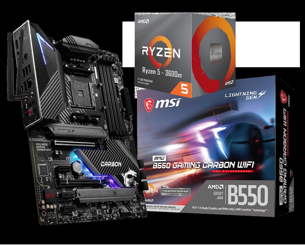 AMD RYZEN 5 3600XT 6-Core 3.8 GHz (4.5 GHz Max Boost)  + MSI MPG B550 Gaming Carbon Wifi Motherboard Bundle
