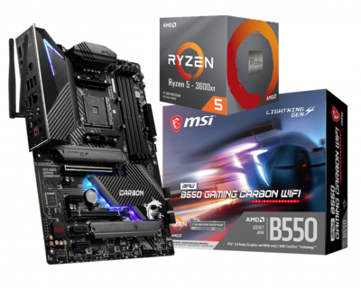 AMD RYZEN 5 3600XT 6-Core 3.8 GHz (4.5 GHz Max Boost)  + MSI MPG B550 Gaming Carbon Wifi Motherboard Bundle