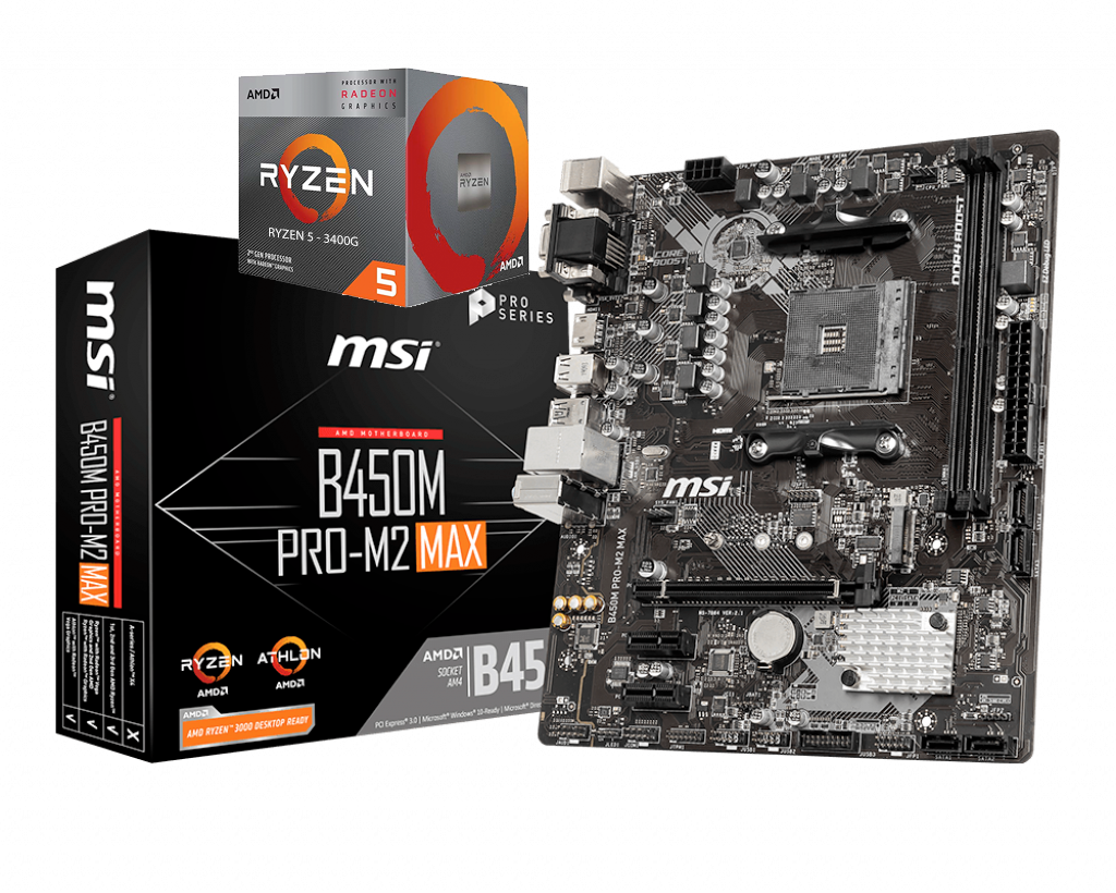 AMD RYZEN 5 3400G 4-Core 3.7 GHz (4.2 GHz Max Boost) + MSI B450M PRO-M2 MAX Motherboard Bundle