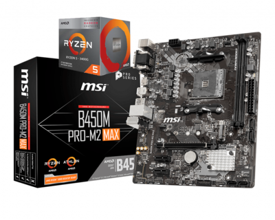AMD RYZEN 5 3400G 4-Core 3.7 GHz (4.2 GHz Max Boost) + MSI B450M PRO-M2 MAX Motherboard Bundle