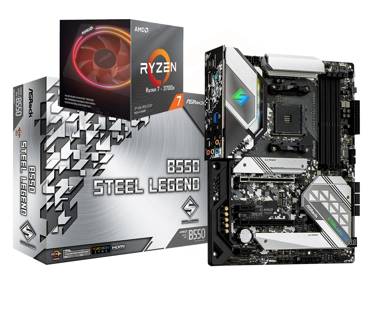 AMD RYZEN 7 3700X 8-Core 3.6 GHz (4.4 GHz Max Boost) + ASRock B550 Steel Legend Motherboard Bundle