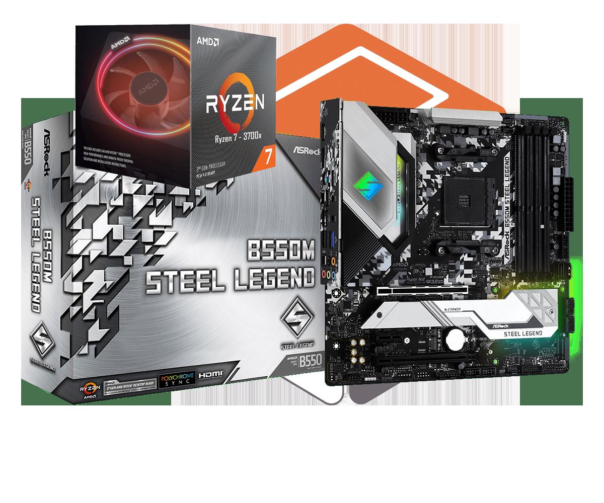 AMD RYZEN 7 3700X 8-Core 3.6 GHz (4.4 GHz Max Boost) + ASRock B550M Steel Legend Motherboard Bundle