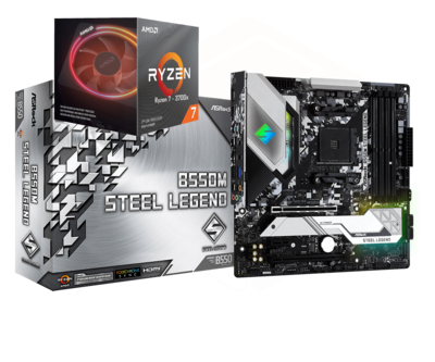 AMD RYZEN 7 3700X 8-Core 3.6 GHz (4.4 GHz Max Boost) + ASRock B550M Steel Legend Motherboard Bundle