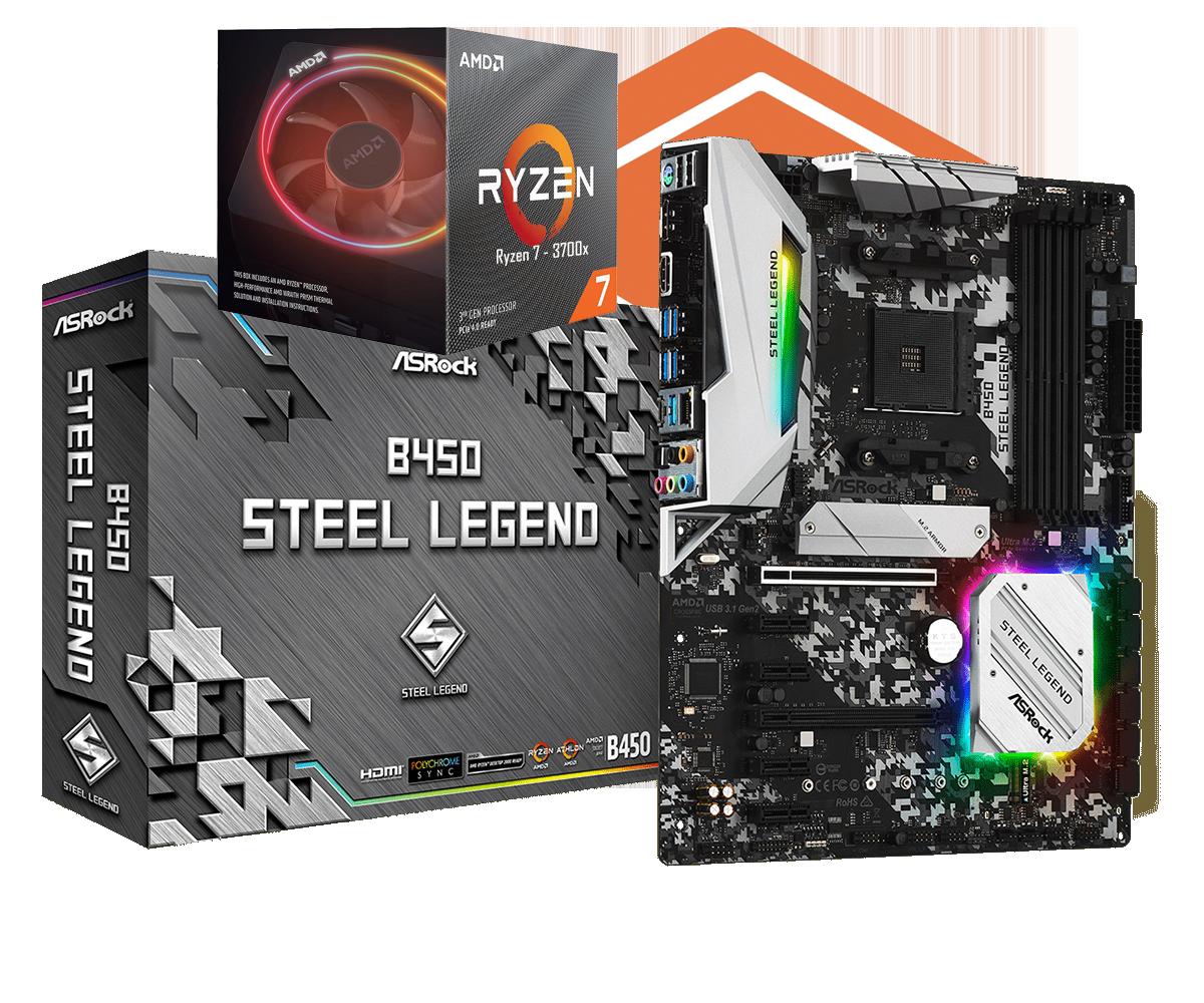 AMD RYZEN 7 3700X 8-Core 3.6 GHz (4.4 GHz Max Boost) + ASRock B450 Steel Legend Motherboard Bundle