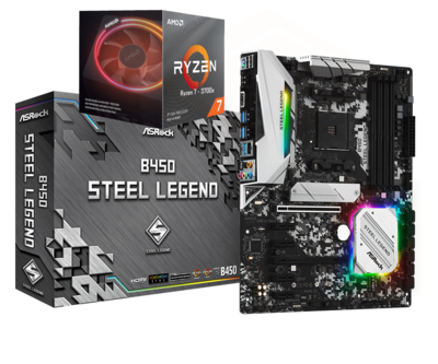 AMD RYZEN 7 3700X 8-Core 3.6 GHz (4.4 GHz Max Boost) + ASRock B450 Steel Legend Motherboard Bundle