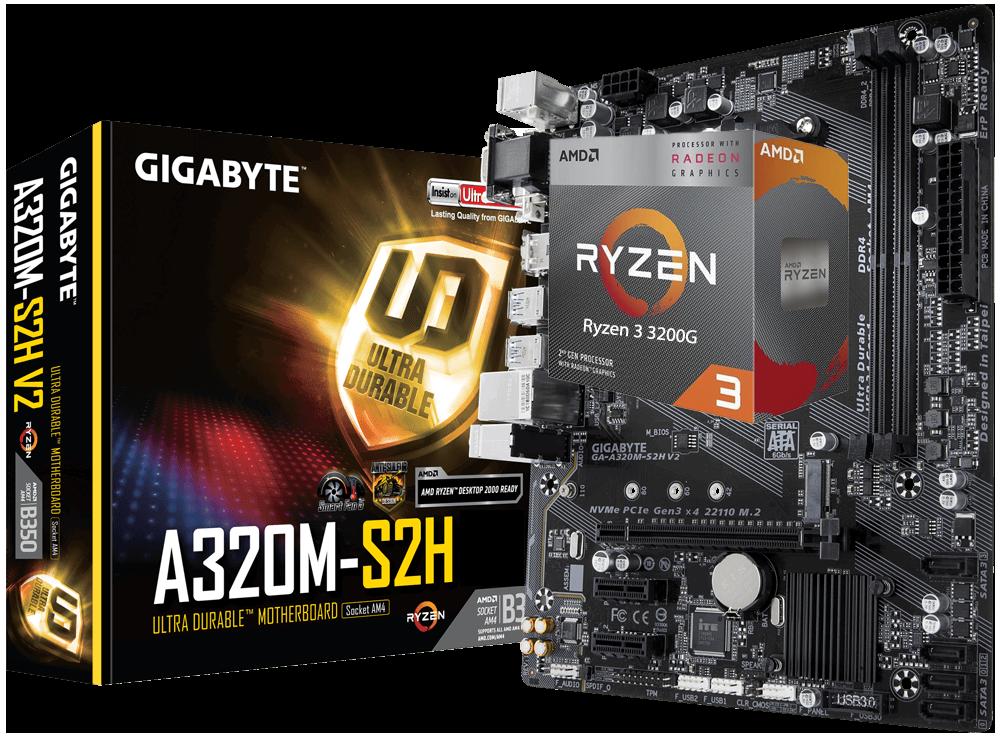AMD RYZEN 3 3200G 4-Core 3.6 GHz (4.0 GHz Max Boost) + GIGABYTE GA-A320M-S2H Motherboard Bundle