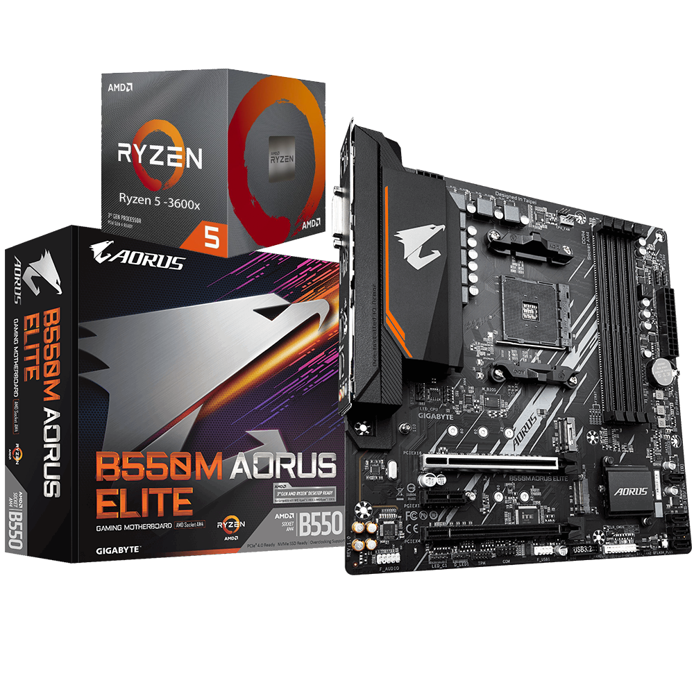 AMD RYZEN 5 3600X 6-Core 3.8 GHz (4.4 GHz Max Boost) + AORUS B550M ELITE Motherboard Bundle