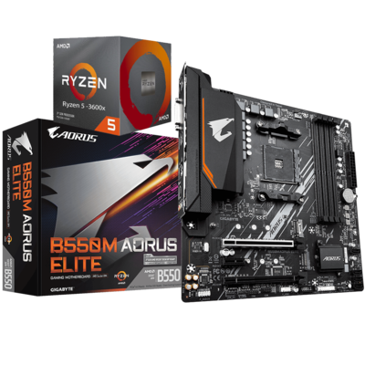 AMD RYZEN 5 3600X 6-Core 3.8 GHz (4.4 GHz Max Boost) + AORUS B550M ELITE Motherboard Bundle