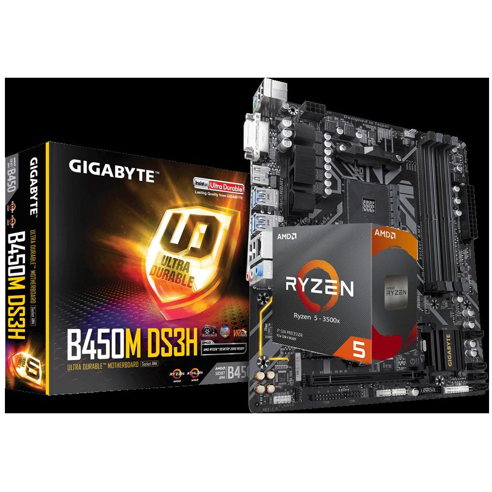 AMD RYZEN 5 3500X 6-Core 3.6 GHz (4.1 GHz Max Boost) + Gigabyte GA-B450M-DS3H Motherboard Bundle