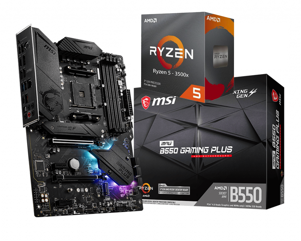 AMD RYZEN 5 3500X 6-Core 3.6 GHz (4.1 GHz Max Boost) + MSI MPG B550 Gaming Plus Motherboard Bundle