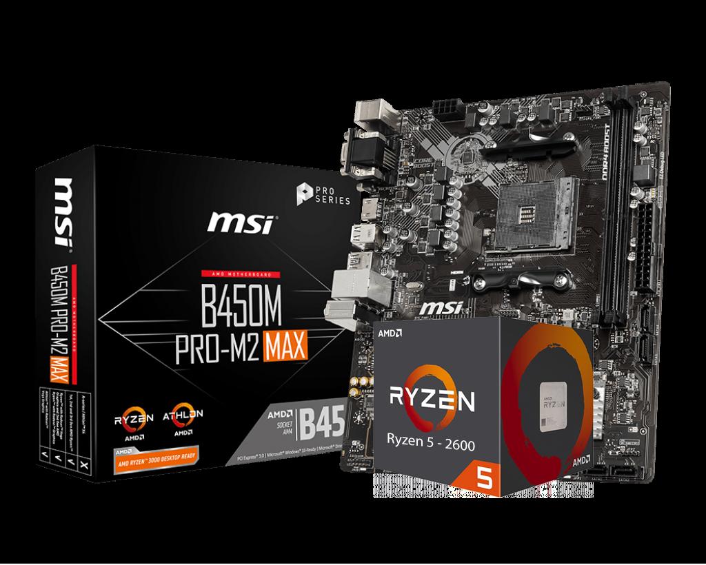 AMD RYZEN 5 2600 6-Core 3.4 GHz (3.9 GHz Max Boost) + MSI B450M PRO-M2 Max