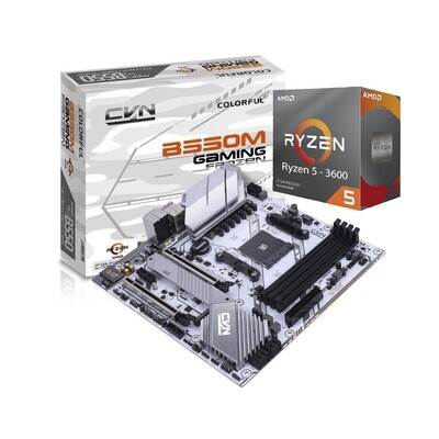 AMD RYZEN 5 3600 6-Core 3.6 GHz (4.2 GHz Max Boost) + Colorful B550M Gaming Frozen V14 Motherboard Bundle