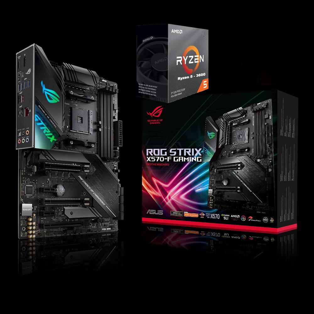 AMD RYZEN 5 3600 6-Core 3.6 GHz (4.2 GHz Max Boost) + Asus ROG Strix X570-F Gaming ATX Motherboard Bundle