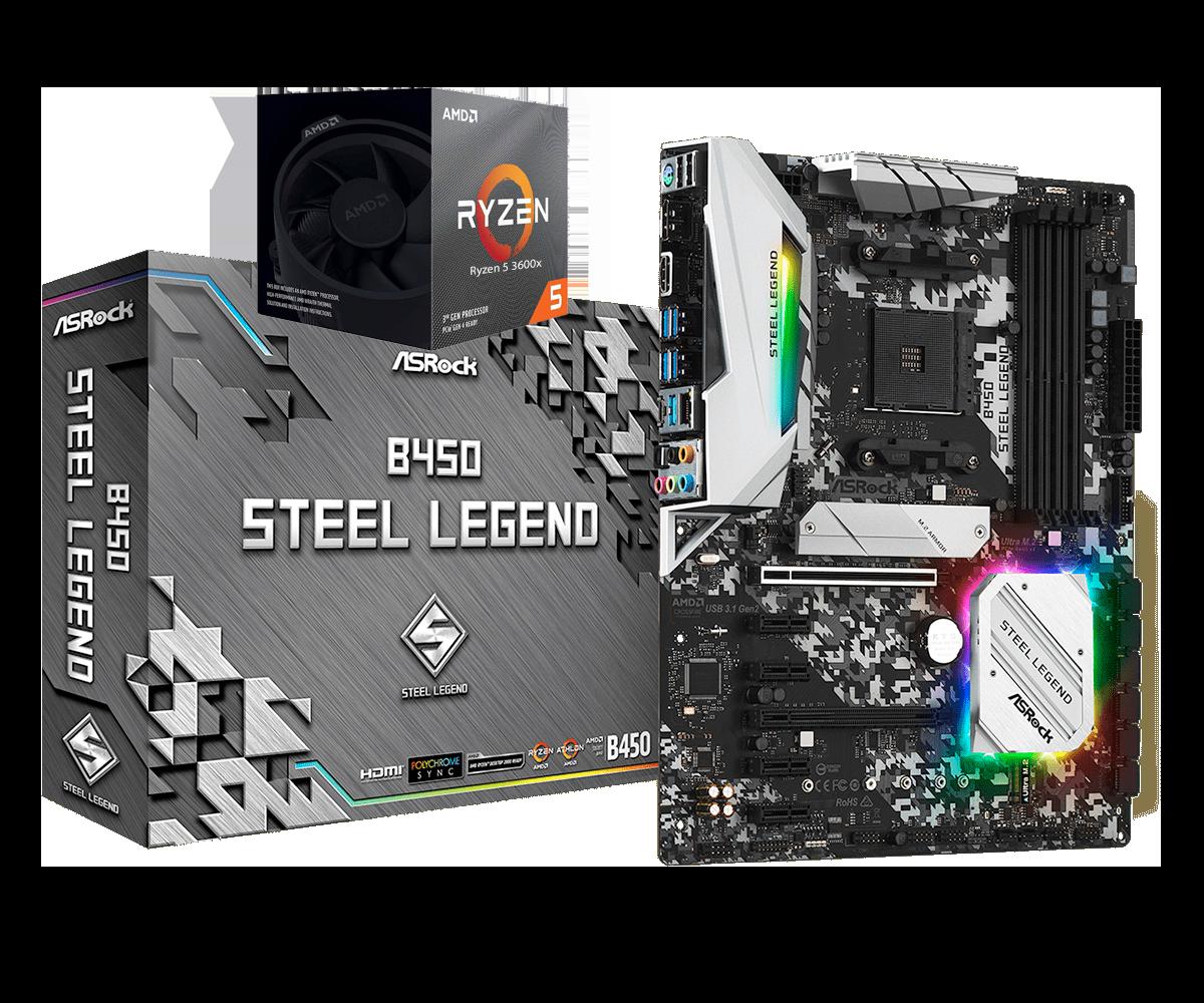 AMD RYZEN 5 3600X 6-Core 3.8 GHz (4.4 GHz Max Boost) + ASRock B450 Steel Legend Motherboard Bundle