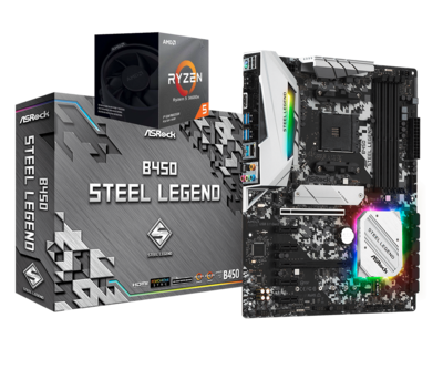 AMD RYZEN 5 3600X 6-Core 3.8 GHz (4.4 GHz Max Boost) + ASRock B450 Steel Legend Motherboard Bundle