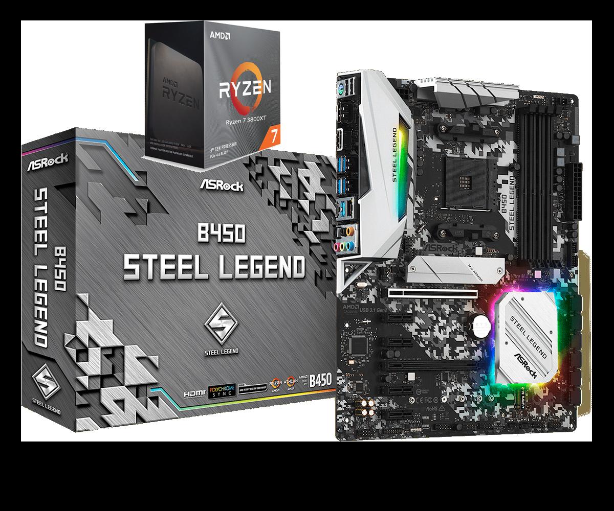 AMD RYZEN 7 3800XT 8-Core 3.9 GHz (4.7 GHz Max Boost) + ASROCK B450 STEEL LEGEND Gaming Motherboard Bundle