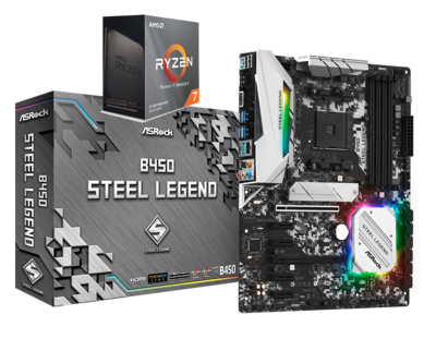 AMD RYZEN 7 3800XT 8-Core 3.9 GHz (4.7 GHz Max Boost) + ASROCK B450 STEEL LEGEND Gaming Motherboard Bundle