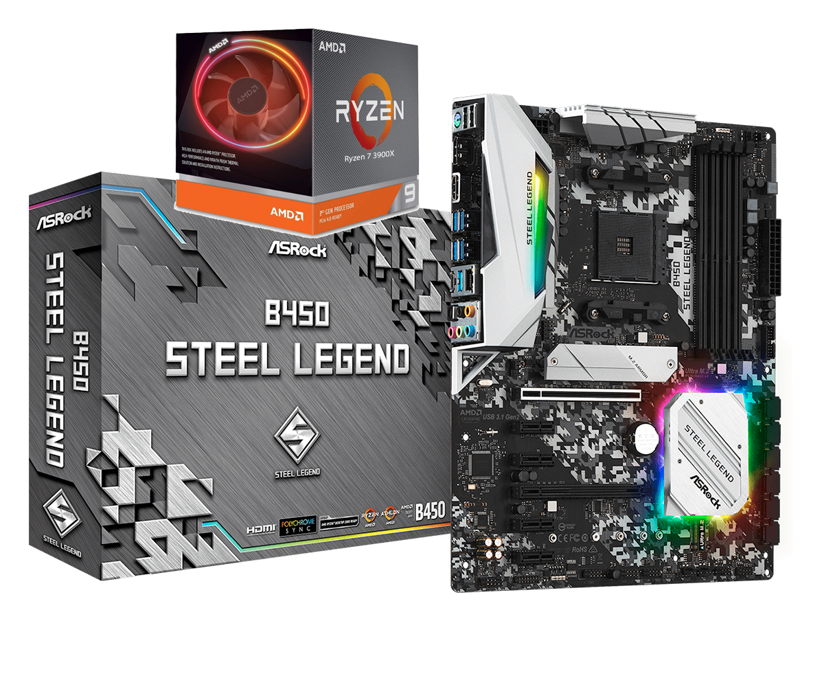 AMD RYZEN 9 3900X 12-Core 3.8 GHz (4.6 GHz Max Boost) + ASROCK B450 STEEL LEGEND Gaming Motherboard Bundle