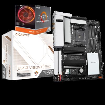 AMD RYZEN 9 3900X 12-Core 3.8 GHz (4.6 GHz Max Boost) + GIGABYTE B550 VISION D Motherboard Bundle