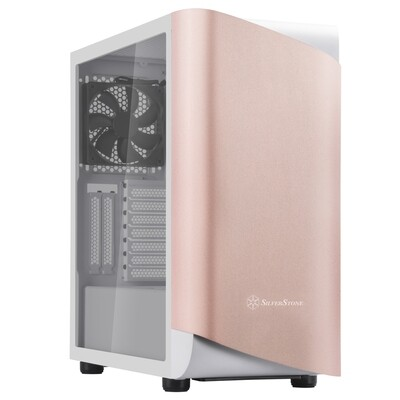 SilverStone SETA A1 Rose Gold on White ATX Mid-Tower Case with Aluminum Bezel TG Case