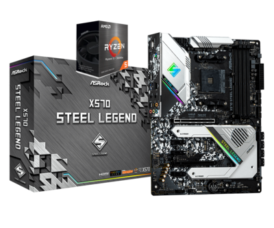 AMD RYZEN 5 5600X 6-Core 3.7 GHz (4.6 GHz Max Boost) + ASROCK X570 STEEL LEGEND Gaming Motherboard Bundle