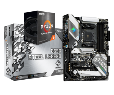 AMD RYZEN 5 5600X 6-Core 3.7 GHz (4.6 GHz Max Boost) + ASRock B550 STEEL LEGEND Gaming Motherboard Bundle