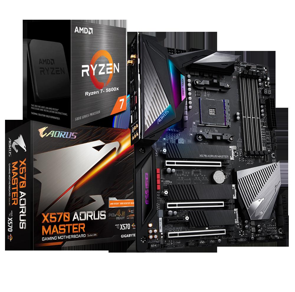 AMD RYZEN 7 5800X 8-Core 3.8 GHz (4.7 GHz Max Boost) + GIGABYTE X570 AORUS Master  Gaming Motherboard Bundle