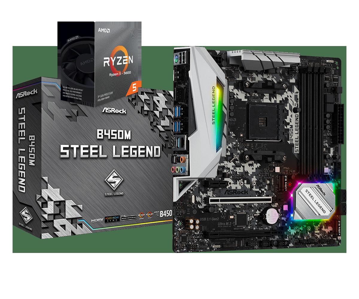 AMD RYZEN 5 3600 6-Core 3.6 GHz (4.2 GHz Max Boost) + ASROCK B450M STEEL LEGEND Motherboard Bundle