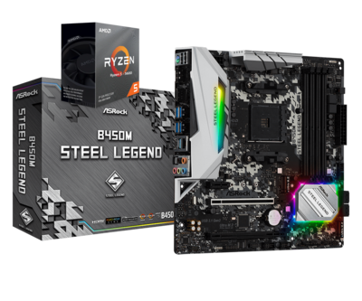 AMD RYZEN 5 3600 6-Core 3.6 GHz (4.2 GHz Max Boost) + ASROCK B450M STEEL LEGEND Motherboard Bundle