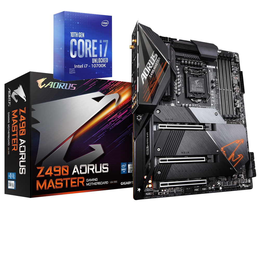 Intel Core i7-10700K Comet Lake 8-Core 3.8 GHz (5.10 GHz Turbo) + Z490 AORUS MASTER Gaming Motherboard Bundle