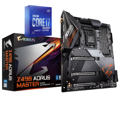 Intel Core i7-10700K Comet Lake 8-Core 3.8 GHz (5.10 GHz Turbo) + Z490 AORUS MASTER Gaming Motherboard Bundle