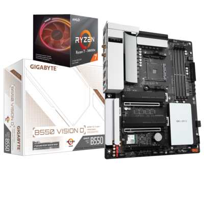 AMD RYZEN 7 3800X 8-Core 3.9 GHz (4.5 GHz Max Boost) + GIGABYTE B550 VISION D Motherboard Bundle