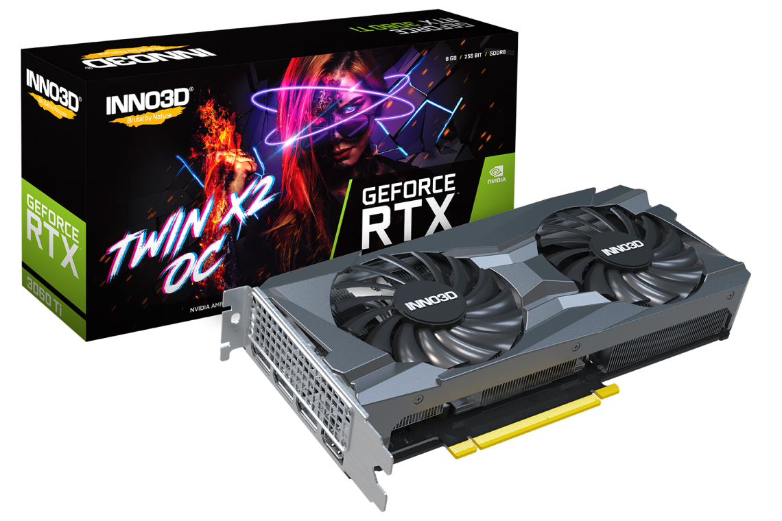 INNO3D GEFORCE RTX 3060 TI TWIN X2 OC 8GB 256-Bit GDDR6 PCI Express 4.0 HDCP Ready Video Card