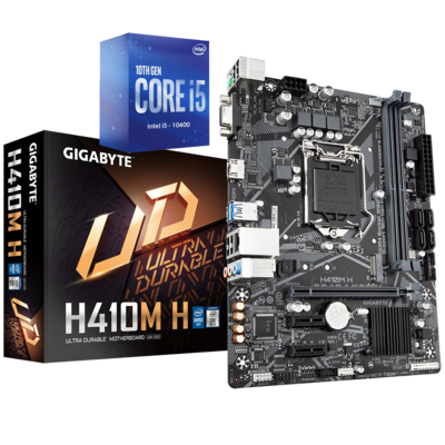 Intel Core i5-10400 Comet Lake Quad-Core 2.9 GHz (4.30 GHz Turbo) + Gigabyte GA-H410M-H Gaming Motherboard Bundle