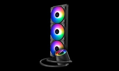 DEEPCOOL Castle 360 RGB V2, All-in-One Liquid CPU Cooler, Addressable RGB Waterblock and Fans, Anti-Leak Tech Inside, 260mm Radiator