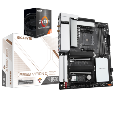 AMD RYZEN 5 5600X 6-Core 3.7 GHz (4.6 GHz Max Boost) + GIGABYTE B550 VISION D Motherboard Bundle