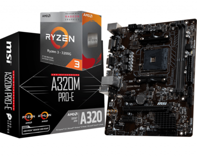 AMD RYZEN 3 3200G 4-Core 3.6 GHz (4.0 GHz Max Boost) +MSI A320M PRO-E Motherboard Bundle