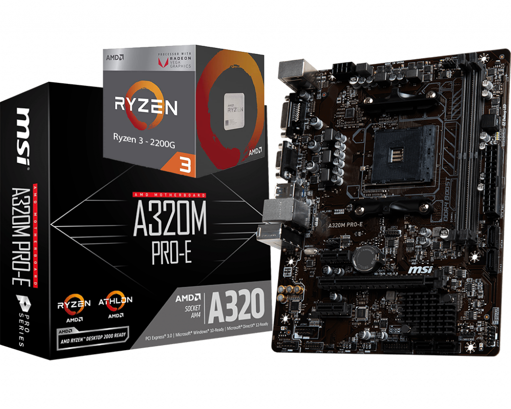 AMD RYZEN 3 2200G 4-Core 3.5 GHz (3.7 GHz Max Boost) +MSI A320M PRO-E Motherboard Bundle