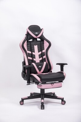 AndyGaming Pink Gaming Chair w/ Footrest