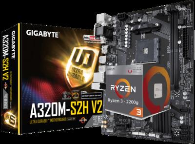 AMD RYZEN 3 2200G 4-Core 3.5 GHz (3.7 GHz Max Boost) + GIGABYTE GA-A320M-S2H V2 Motherboard Bundle